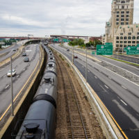 Trains bearing crude oil in Albany