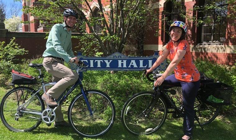 Kingston Mayor Steve Noble and Emily Flynn