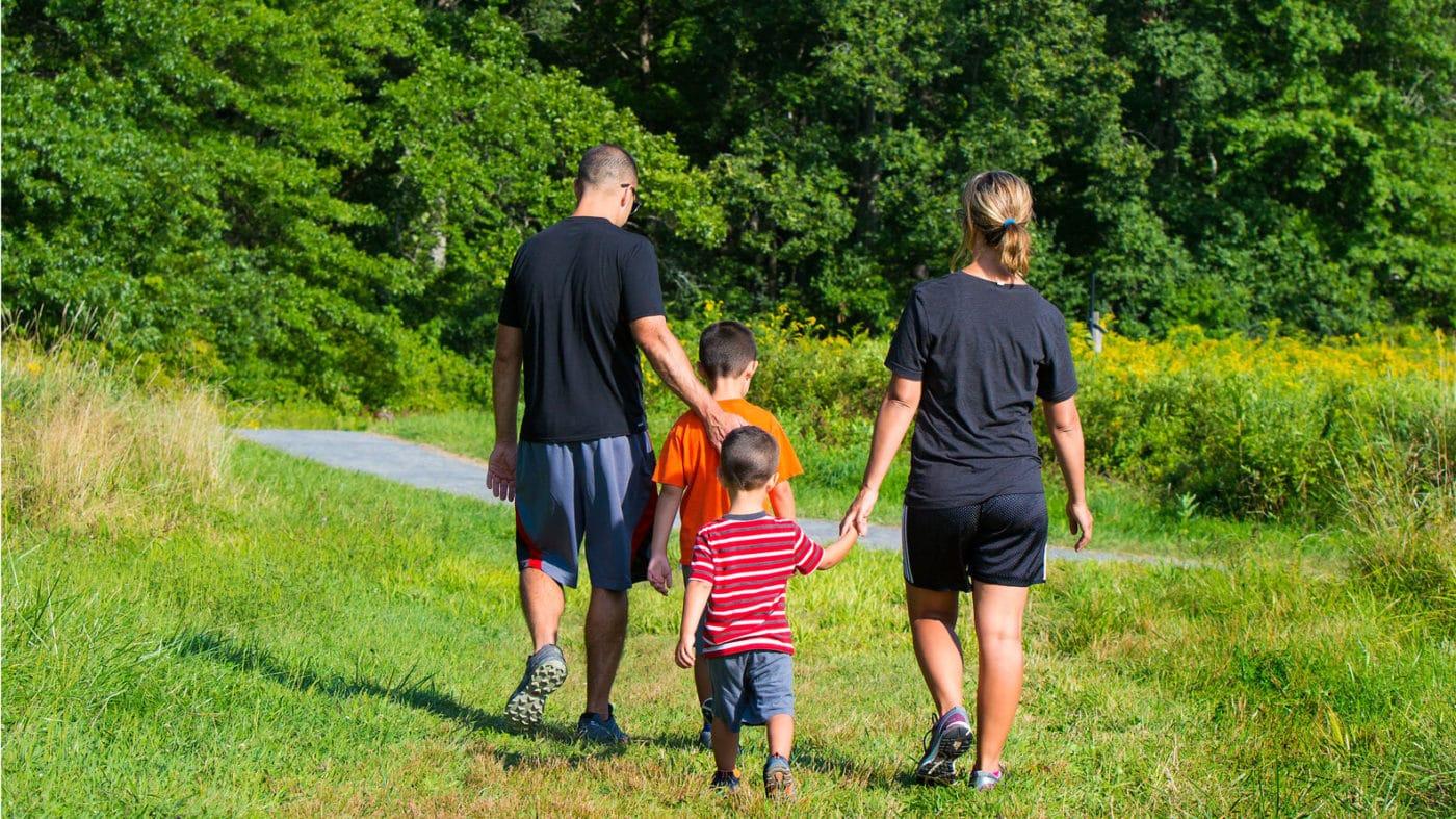 A family enjoying Poets' Walk Park (John Halpern)